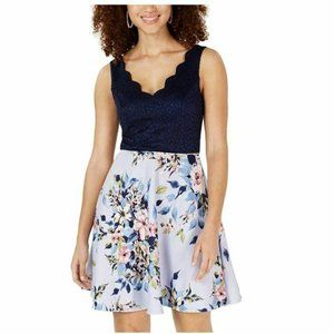 City Studio 7 Navy Blush Lace Dress NWT AV49